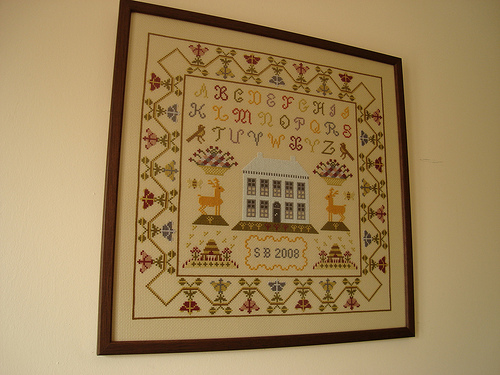 House and Alphabet sampler framed!